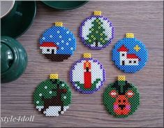 Set of 6 pcs. Perler Bead Christmas Tree Ornaments, Size: Each Ornament is about 3 inches cm) tall and 3 inches cm) inches wide. Material: Plastic Beads,Perler Beads, ***** Ready to send **** See my other projects Perler Bead Designs, Hama Beads Design, Pearler Bead Patterns, Diy Perler Beads, Perler Bead Art, Christmas Perler Beads, Beaded Christmas Ornaments, Diy Ornaments, Noel Christmas