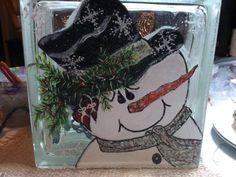 Lighted snowman glass block