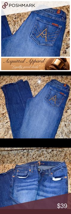 "7 For All Mankind A Pocket Bling Jeans 30"" inseam A pocket bling jeans. Excellent condition. A few crystals missing off back pockets not very noticeable. Approximate 30 inch inseam and 8 inch rise. 98% cotton 2% polyurethane. 7 for all Mankind Jeans Boot Cut"