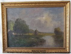 Early 20th Century French Countryside Stream Landscape Oil Painting Unsigned