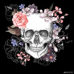 Vector: Skull and Flowers Day of The Dead