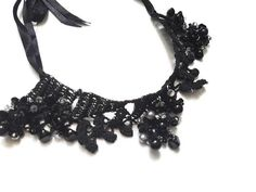 Items similar to Black beads statement necklace, lace crystal choker, gothic jewelry, chunky necklace on Etsy Halloween Jewelry, Halloween Accessories, Pearl Beads, Crystal Beads, Beaded Statement Necklace, Lace Gloves, Unique Crochet, Black Thread, Crystal Choker