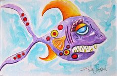 Purple Fish-Original Water color painting-Funky Fish Tails-fish art-art fish-Nautical art-Whimsical Fish-Fish Painting-Beach house art-fun by ErikaJohnsonGallery on Etsy https://www.etsy.com/listing/188406288/purple-fish-original-water-color