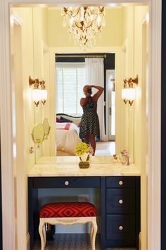 This is a vanity nook, but would be a gorgeous bathroom.  Note the lack of natural lighting; as my bath is windowless, this design would bring warmth and light to the small room.