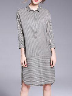 Shop Midi Dresses - Black Cotton-blend Simple Stripes Shirt Collar Midi Dress online. Discover unique designers fashion at StyleWe.com.
