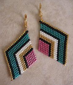 Seed Bead Diamond Shape Earrings Teal/Pink by pattimacs on Etsy