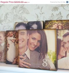SPRING SALE Set of 22 Custom Photo Wood Blocks- WEdding Reception Decoration- Shabby Chic Table Numbers