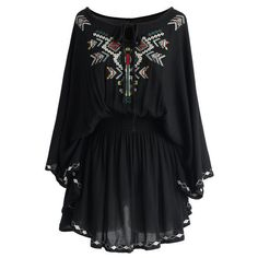 Black Embroidered Tunic ($20) ❤ liked on Polyvore featuring tops, tunics, dresses, vestidos, embroidery tops, black top, black tunic, embroidered top and embroidered tunic