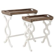 Wooden set of two tray tables in white and brown color. Coffee Table Furniture, Coffee Tables, Wooden Tables, Vanity Bench, Entryway Tables, Sweet Home, Table Settings, Colours, House