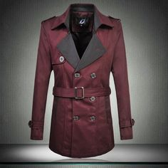 Jacket - Burgundy Fashion Business Trench Coat with Belt @runit365 #trench #coat #smart