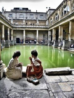 The Roman Baths, in Bath, Somerset England.