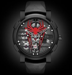 Introducing the RJ-Romain Jerome Spider-Man watch Romain Jerome partners with Marvel to create the Spider-Man watch, a limited edition of 75 pieces. 48mm stainless steel case is black PVD'ed. Retail pricing is $19,500. Cheers, Anthony from watchProSite.com