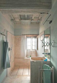 """Seafoam green bathroom designed by Ilaria Miani."" Those colors! Bathroom Interior Design, Decor Interior Design, Building Renovation, Decoration, Sweet Home, New Homes, House Design, Bathrooms, Redo Bathroom"
