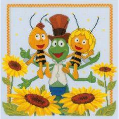 """""""Maya de Bij: Among the Sunflowers"""": borduurpakket met telpatroon om zelf te maken"""