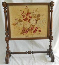 Fire Screen Antique American Needlepoint  Victorian Carved Turned Legs Massive #Victorian #unknown