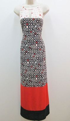 Donna Morgan Hot Coral Peach Multicolor Crepe Halter Summer Maxi Cocktail Dress #DonnaMorgan #maxi