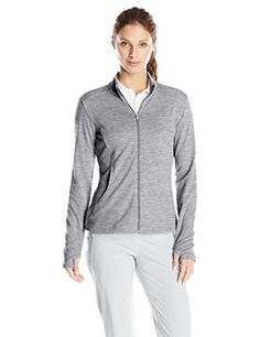 adidas Golf Womens Essentials 3Stripe Full Zip Layering Shirt Medium Grey Heather Large * Details can be found by clicking on the image.