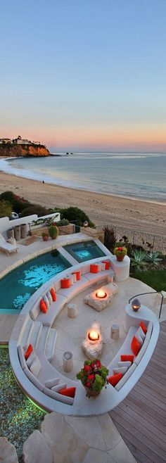 Cool idea, fire pit with seating right next to the sea