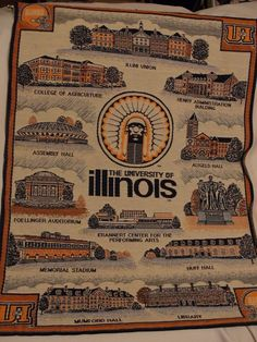 WOW RARE Vintage Fighting Illini Chief Illinewek Woven Tapestry Wall Art Scroll #FightingIllini