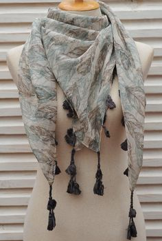 SALE feather scarf chiffon scarf feathers print Large by Hanamer