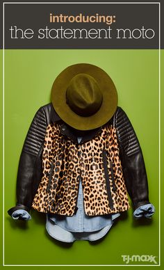 Moto jackets are enduringly cool. As the perfect third layer, you can wear them with anything from chambray shirts to cocktail dresses. This fall, mix up the classic piece and go for something unexpected – animal print, patchwork suede or surprising color choices all do the trick. Shop jackets at tjmaxx.com.