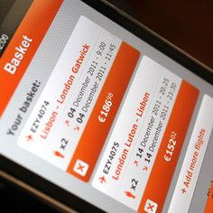 EasyJet iPhone application on the Behance Network