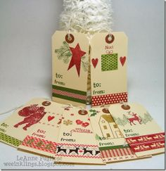 LeAnne Pugliese WeeInklings Christmas Tags made with Washi Tape and Christmas stamps