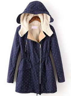 Blue Hooded Long Sleeve Drawstring Coat