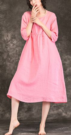 8504c2f7d05 Beautiful pink linen clothes For Women top quality Sewing o neck wrinkled  baggy Summer Dress