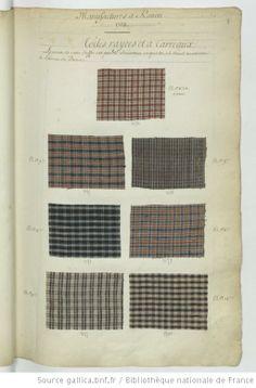 * Manufactures à Rouen // 1737 // Toiles rayées et à carreaux - Echantillons d'étoffes et de rubans recueillis par le Maréchal de Richelieu