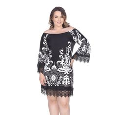 Beautiful lace trims 3/4-length bell sleeves and the hemline of this shift dress. With a flattering empire waist and intricate design, this dress is chic and stylish.