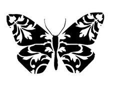 """6/6"""" Vintage design butterfly stencil 1."""