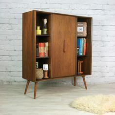 Vintage 1950s Deilcraft Walnut Bookcase - Mustard Vintage