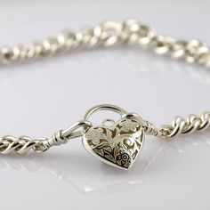 Items similar to Stunning vintage, sterling silver love-heart filagree pendant on curb link chain on Etsy Vintage Jewelry, Unique Jewelry, Love Heart, Unique Vintage, Solid Gold, My Etsy Shop, Jewellery, Sterling Silver, Trending Outfits