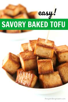 EASY baked tofu recipe - just 5 ingredients and delicious savory flavor! Great for snacks or to toss in soups, salads, rice bowls, etc. (vegan, gluten-free)