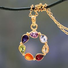 Multi-gemstone Vermeil Necklace Chakra Jewelry from India - Peace Within | NOVICA