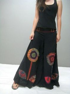 Bohemian Embroidery Pants - Boho style clothing boutique, hippie style wide legs pants You are in the right place about fashion - Hippie Style, Gypsy Style, Boho Fashion, Fashion Dresses, Womens Fashion, Boho Dress, Dress Skirt, Skirt Pants, Wide Leg Yoga Pants