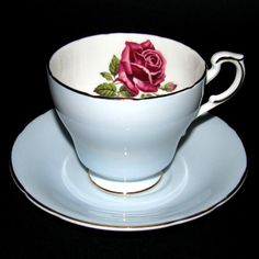 Paragon Red Rose Blue Teacup and Saucer
