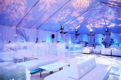 To have an amazingly alluring and charming wedding, a bride would want to go with the winter wonderland theme. Winter Wonderland Wedding Theme, Wonderland Events, Winter Theme, Frozen Wedding, Wedding Lounge, Bar Lounge, Lounge Seating, Lounge Areas, Neon Party