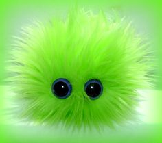 MONSTER BARF PLUSHIE with Barf Bag monster hairball barf Lime Green Neon Purple Eyes. $9.99, via Etsy.