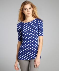 Casual Couture by Green Envelope : sapphire and white polka dot stretch jersey boat neck top
