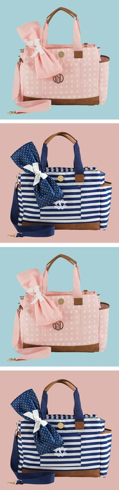 This Monogrammed Bigger Bundle Diaper Bag is the perfect gift for any new parent! Get it now at Marleylilly.com!