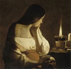 Georges De La Tour Magdalen of Night Light, , Musee du Louvre, Paris. Read more about the symbolism and interpretation of Magdalen of Night Light by Georges De La Tour. Art Prints, Mary Magdalene, Image, Painting, Visual Art, Artwork, Chiaroscuro, Maria Magdalena, Art History