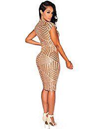 Women Short Sleeve Deep V-Neck Sequin Split Bodycon Cocktail Party Dress  Black Sequin Dress 7cdfbb982fb8
