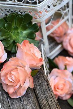 10 Peach Rose Heads Silk Flower Wedding/Reception Table Decorations Bulk Silk Flowers. #bouquets #weddingbouquets #weddinggift #weddinginspiration #silkweddingbouquets