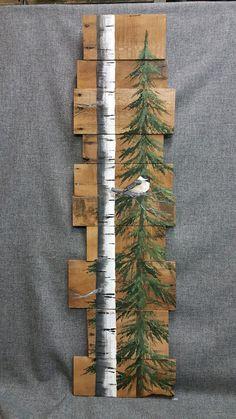Weiße Birke & Pine Baum aufgearbeiteten Holz Paletten Kunst, TALL handgemalte weiße Birke Chickadee Vogel, Upcycled, Wall Art, Distressed Original Acrylbild auf aufgearbeiteten Paletten Bretter. Dieses einzigartige Stück ist 46 x 9-12 hoch hoch Perfekt für die mageren Wandfläche. Alle meine Kreationen sind aus aufgearbeiteten Brettern gefertigt. Sie sind handgemalt und erfolgen, nachdem sie bestellt werden. Obwohl ich versuche, so weit wie möglich original duplizieren, möglicherweise, ger...