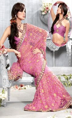 Princess Pink Net #Saree with Blouse @ $124.48 | Shop Here: http://www.utsavfashion.com/store/sarees-large.aspx?icode=slskk7814