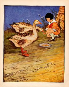 Girl Feeds Geese from her Hand by Milo Winter vintage print 1921 Zany Zoo, Horse Carriage, Vintage Farm, Girls Quilts, Sign Printing, Red Riding Hood, Book Illustration, Vintage Postcards, Vintage Children