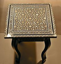 Egyptian Moroccan Vintage Mother of Pearl Mosaic Wood Sqaure Coffee Table $140