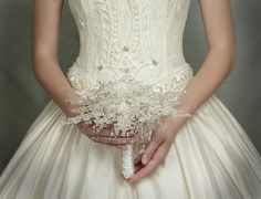 Wedding Flowers - Crystal Snowflake Bridal Bouquet - Winter or Christmas Wedding Bouquets - Fabulous Brooch Bouquet Alternative